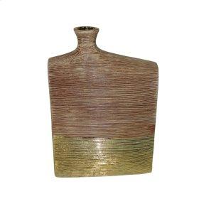 """Ceramic 16.5"""" Vase, Brown/gold"""