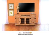 "63"" TV Console w/2 Glass doors & 2 Solid wood doors, 2 drawers & 1 Landscape door"