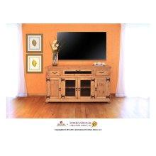 """63"""" TV Console w/2 Glass doors & 2 Solid wood doors, 2 drawers & 1 Landscape door"""