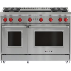"Wolf48"" Gas Range - 4 Burners and Infrared Dual Griddle"