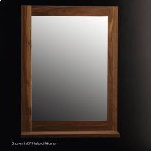 "Wall-mount mirror in wooden frame with a bottom shelf, 24""W, 6""D, 32""H."