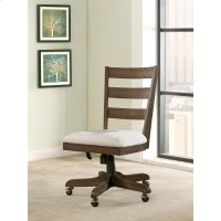 Perspectives - Wood Back Upholstered Desk Chair - Brushed Acacia Finish Product Image