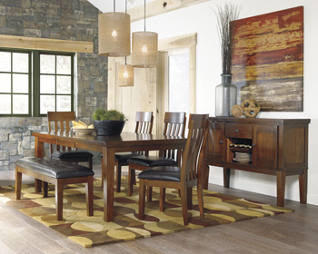 Charming RECT DRM Butterfly EXT Table With 4 Chairs