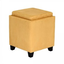 Rainbow Microfiber Storage Ottoman in Yellow Microfiber
