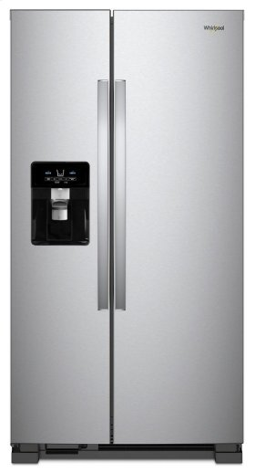 Whirlpool 4pc. Stainless steel kitchen package with 25 cu.ft. full depth Side-by-Side fridge and electric range