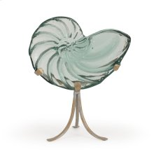 Recycled Glass Nautilus on Metal Stand