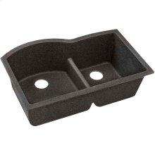"""Elkay Quartz Classic 33"""" x 22"""" x 10"""", Offset 60/40 Double Bowl Undermount Sink with Aqua Divide, Black Shale"""