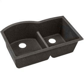 "Elkay Quartz Classic 33"" x 22"" x 10"", Offset 60/40 Double Bowl Undermount Sink with Aqua Divide, Black Shale"