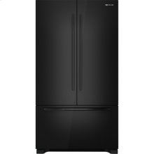 "Cabinet Depth French Door Refrigerator with Internal Dispenser, 72""(h), Black Floating Glass w/Handle"
