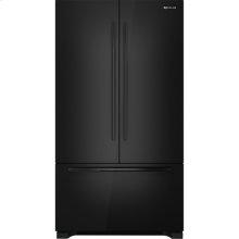 "Cabinet Depth French Door Refrigerator with Internal Dispenser, 72""(h), Black Floating Glass w/Handle"