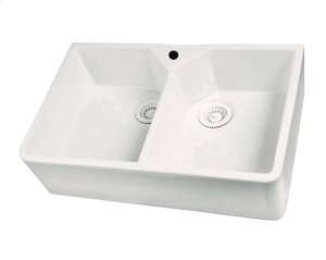 Jolie Double Bowl Fireclay Farmer Sink - Bisque / With Hole Product Image