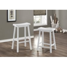 White Saddle Seat 24 Barstool