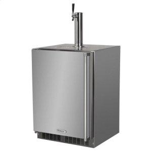 """MarvelOutdoor 24"""" Single Tap Built In Beer Dispenser - Marvel Refrigeration - Solid Black Door, Stainless Handle Twin Tap - Left Hinge"""