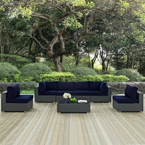 Sojourn 7 Piece Outdoor Patio Sunbrella® Sectional Set in Canvas Navy