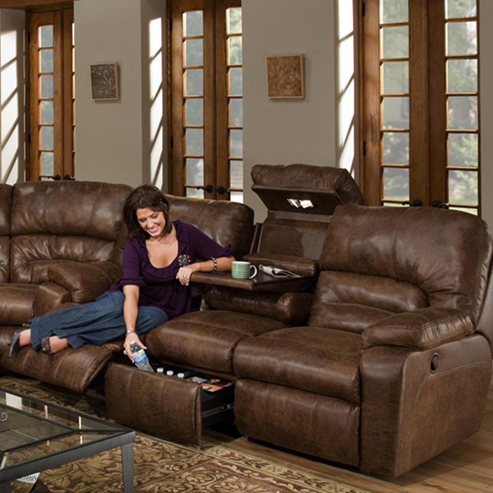 Superbe Reclining Sofa W/Drop Down Table, Lights U0026 Drawer