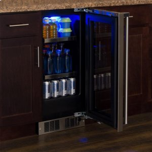 """Marvel15"""" Beverage Center - Stainless Frame, Glass Door with Lock - Integrated Right Hinge, Professional Handle"""