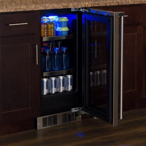"""15"""" Beverage Center - Panel-Ready Framed Glass Door with Lock - Integrated Left Hinge (handle not included)*"""