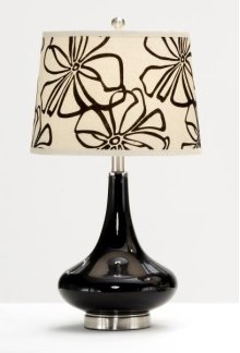 Black Glass Base with Black Tapestry Flower Shade