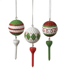 Golf Ball and Tee Ornament (3 asstd).