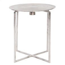 Raw Silver Spiral Top Accent Table Product Image