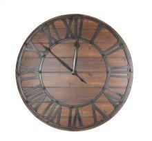 Metal & Wood Wall Clock, Black, Window Box