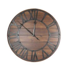 Dark Wood/metal Wall Clock, Wb