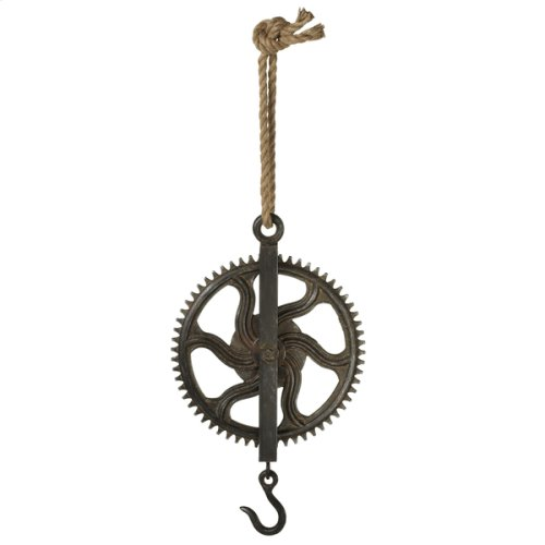 Large Distressed Black Gear Pulley with Hook