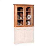 "Classic Closed Corner Hutch Top, 34 3/4"", Antique Glass Product Image"