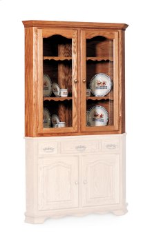"""Classic Closed Corner Hutch Top, 34 3/4"""", Antique Glass"""