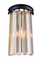 "1208 Sydney Collection Wall Lamp W:8"" H:14"" E5"" Lt:2 Mocha Brown Finish (Royal Cut Golden Teak Crystals) Product Image"