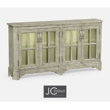 Rustic Grey Parquet Welsh Bookcase with Strap Handles