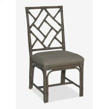 Hampton Chippendale Rattan Side Chair Grey Wash - Cream Taupe Cushion - MOQ 2(19X22X39)