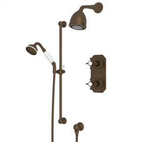 English Bronze Edwardian U.KIT52L Thermostatic Shower Package with Edwardian Cross Handle