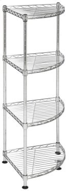 Damaris 4 Tier Chrome Wire Corner Rack - Chrome Product Image