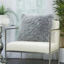 "Faux Fur Bj101 Light Grey 20"" X 20"" Throw Pillows"