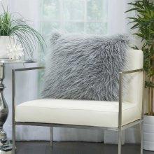 "Faux Fur Bj101 Light Grey 20"" X 20"" Throw Pillows"