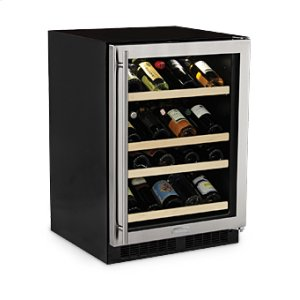 "MarvelMarvel 24"" High Efficiency Gallery Single Zone Wine Refrigerator - Stainless Steel Frame Glass Door - Left Hinge"