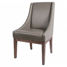 Houston Bonded Leather Chair Drift Wood Legs, Vintage Gray