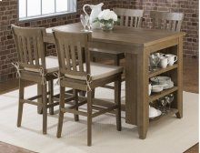 Slater Mill Reclaimed Pine Counter Height Table With 3 Shelf Storage