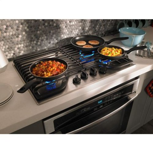 30-inch Gas Cooktop with 4 Burners - white