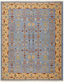 Nourmak Sk92 Blue Rectangle Rug 7'10'' X 9'10''
