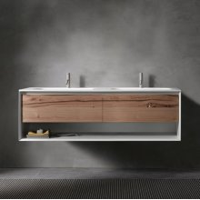 "45° UP series 1400 vanity w/shelf, White Matte frame/Vintage Oak front; 55""w x 19""h x 20""d"