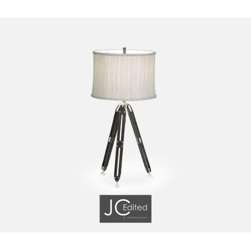"""32"""" Black Mocha Oak Architectural Table Lamp with White Brass Stretcher"""