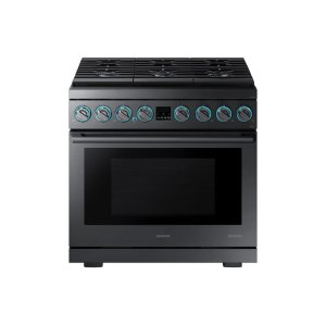 "Samsung36"" Gas Professional Range in Matte Black Stainless Steel"
