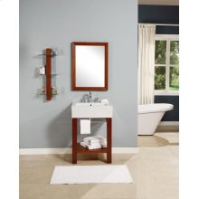 Infusion Lavatory Console With Rectangular Mirror and Shelf - Cognac