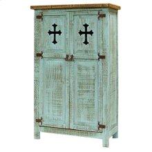 "Turquoise : 35"" x 16"" x 58"" White 2 Door Cabinet W/Cross"