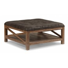 Hampton Dark Square Cocktail Ottoman with Casters