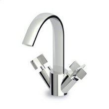 Single hole bidet mixer, fixed spout with antisplash, flexible tails.