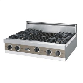 """Stone Gray 36"""" Sealed Burner Rangetop - VGRT (36"""" wide, four burners 12"""" wide char-grill)"""