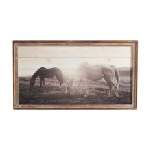Framed Slat Horses at Sunset Wall Decor.